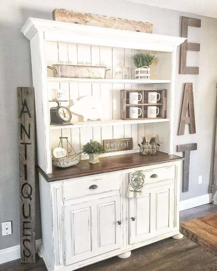 An Antique Cupboard With Charming Farmhouse Decor Awesome Rustic Dining Room